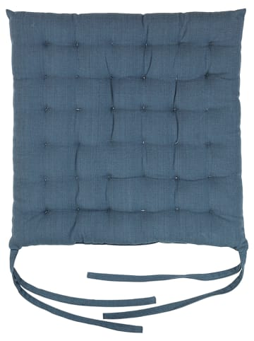 "Broste Copenhagen Stoelkussen ""Ava"" blauw - (L)40 x (B)40 cm"