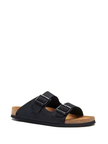 Comfortfusse Leren slippers zwart