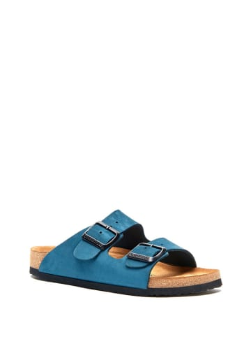 Comfortfusse Leren slippers donkerblauw