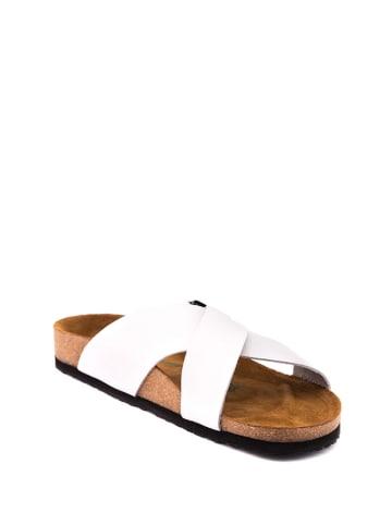 Comfortfusse Leren slippers wit