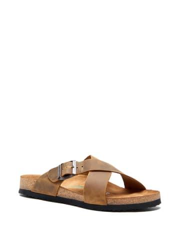 Comfortfusse Leren slippers lichtbruin