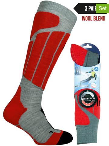 Norfolk 3-delige set: ski-/snowboardsokken rood/grijs