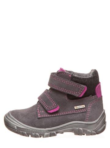Richter Shoes Leder-Winterboots in Grau/ Pink