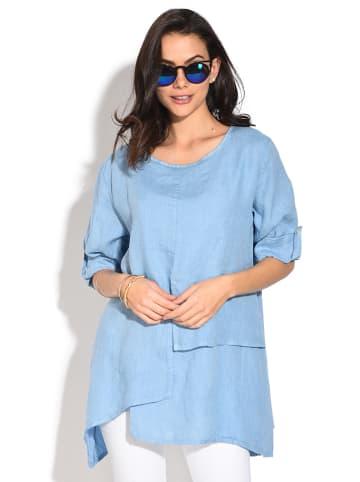 Le Jardin du Lin Lniana bluzka w kolorze błękitnym