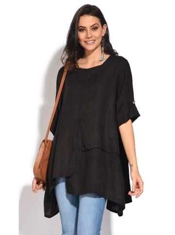 Le Jardin du Lin Lniana bluzka w kolorze czarnym