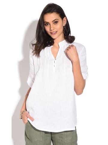 Le Jardin du Lin Lniana bluzka w kolorze białym