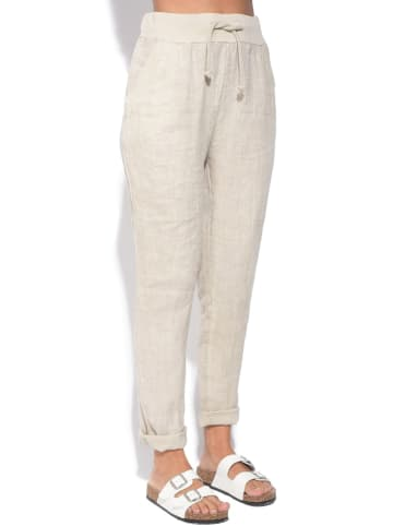 Le Jardin du Lin Lniane spodnie w kolorze beżowym