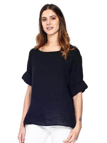 Le Jardin du Lin Lniana koszulka w kolorze czarnym