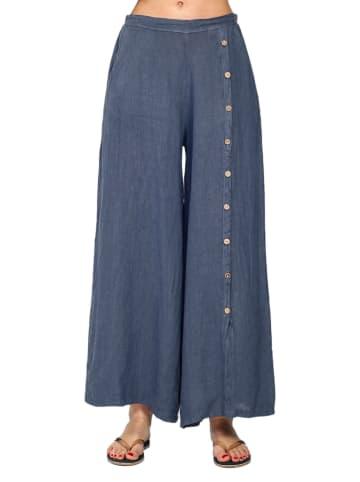 Le Jardin du Lin Lniane spodnie w kolorze niebieskim