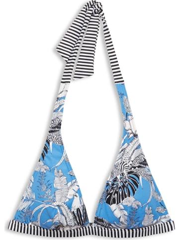 ESPRIT Biustonosz bikini w kolorze błękitno-czarno-białym