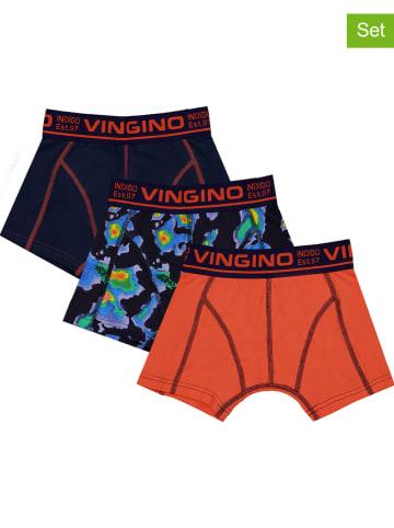 """Vingino 3-delige set: boxershorts """"Heat"""" donkerblauw/oranje"""