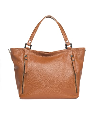 "Lia Biassoni Leder-Shopper ""Anfora"" in Cognac - (B)42 x (H)26 x (T)14 cm"