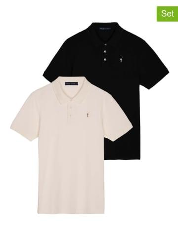 Polo Club Koszulki polo (2 szt.) w kolorze czarnym i kremowym