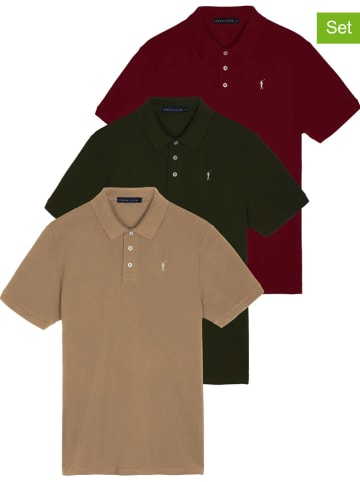 Polo Club Koszulki polo (3 szt.) w kolorze czerwonym, beżowym i khaki