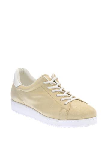 Pazolini Skórzane sneakersy w kolorze złotym
