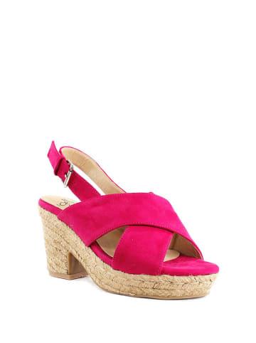 FOR TIME Skórzane sandały w kolorze fuksji