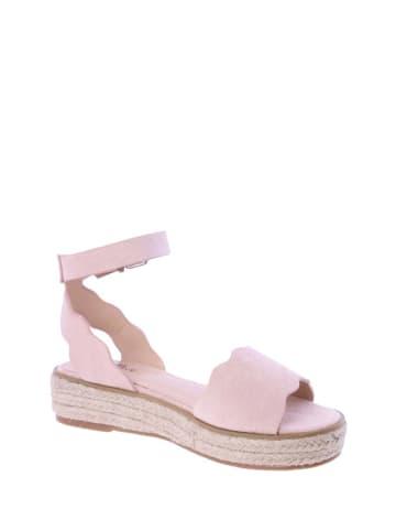 FOR TIME Skórzane sandały w kolorze jasnoróżowym