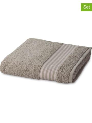 Möve 2-delige set: douchehanddoeken grijs