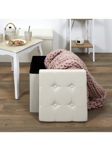 THE HOME DECO FACTORY Kruk met opbergruimte beige - (B)38 x (H)38 x (D)38 cm
