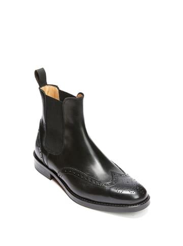 British Passport Leder-Chelsea-Boots in Schwarz