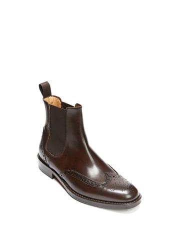 British Passport Leder-Chelsea-Boots in Braun