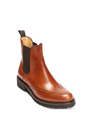 British Passport Leder-Chelsea-Boots in Hellbraun