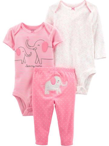 Carter's 3-częściowy zestaw w kolorze różowo-białym
