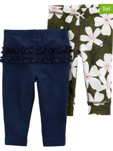 Carter's Spodnie (2 pary) w kolorze zielonym i granatowym