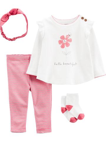 Carter's 4-częściowy zestaw w kolorze różowo-białym