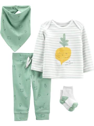 Carter's 4tlg. Outfit in Grün/ Weiß
