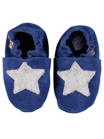 Lamino Skórzane buty w kolorze niebiesko-jasnoszarym do raczkowania