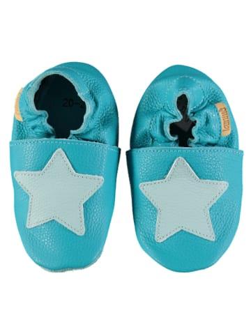 Lamino Skórzane buty w kolorze turkusowo-błękitnym do raczkowania