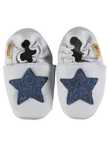 Lamino Skórzane buty w kolorze jasnoszaro-granatowym do raczkowania