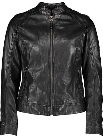 KRISS Skórzana kurtka w kolorze czarnym