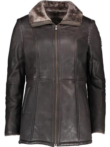 Otto Kern Skórzany płaszcz w kolorze ciemnobrązowym