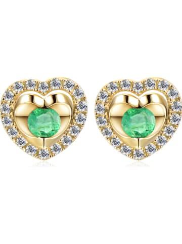 Revoni Złote kolczyki-wkrętki z diamentami i szmaragdami