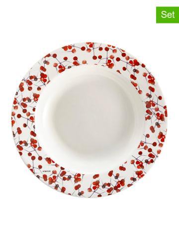 Ambition 6-Set: Suppenteller in Weiß/ Rot - Ø 21,5 cm