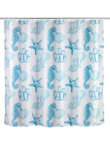Wenko Zasłona prysznicowa w kolorze błękitno-białym - 200 x 180 cm