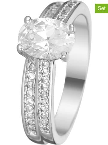 LES PIERRES 2-delige set: witvergulde ringen met Swarovski-kristallen