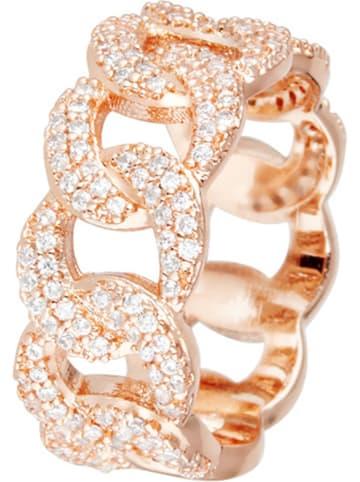 LES PIERRES Rosévergold. Ring mit Kristallen