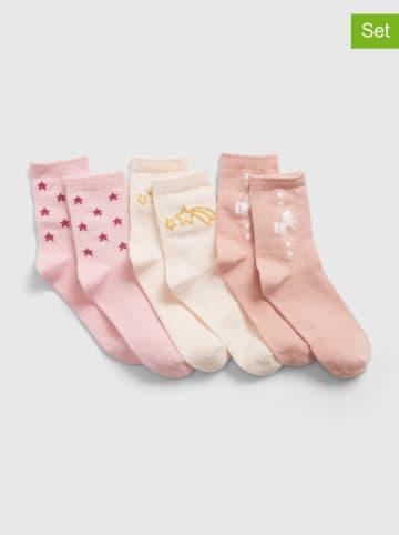 GAP 3-delige set: sokken lichtroze/crème