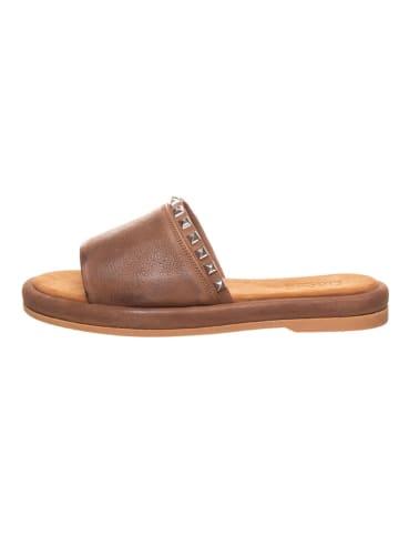 Cinque Leren slippers lichtbruin