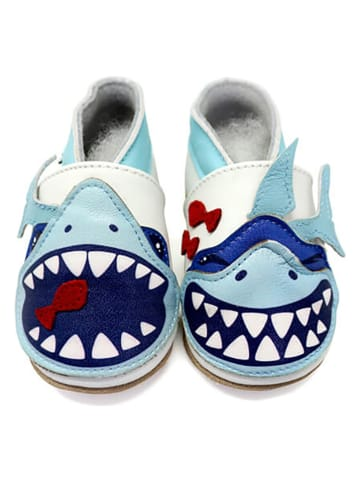 "Lait et Miel Leder-Krabbelschuhe ""Shark"" in Blau/ Weiß"