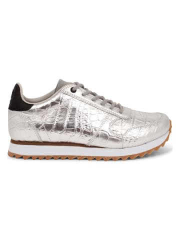 """WODEN Leren sneakers """"Ydun Croco Shiny"""" zilverkleurig"""