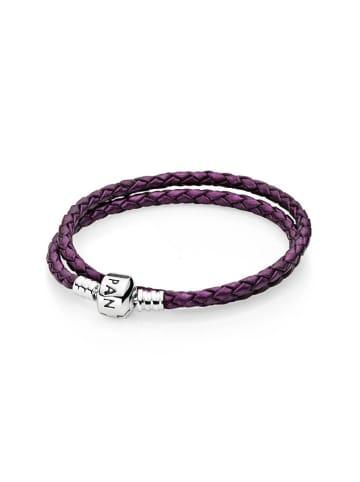 Pandora Skorzana bransoletka w kolorze fioletowym ze srebrnymi elementami