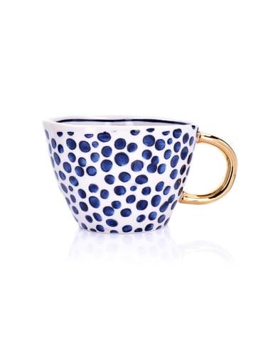 DUKA Beker wit/blauw/goudkleurig - 300 ml