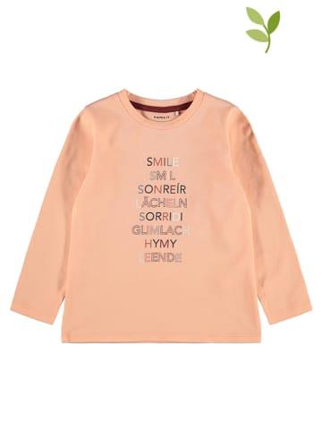 """Name it Koszulka """"Lemina"""" w kolorze brzoskwiniowym"""