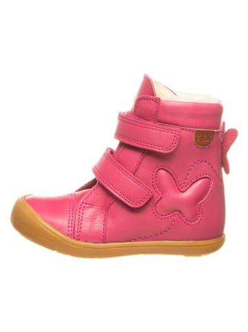 BO-BELL Skórzane botki w kolorze różowym