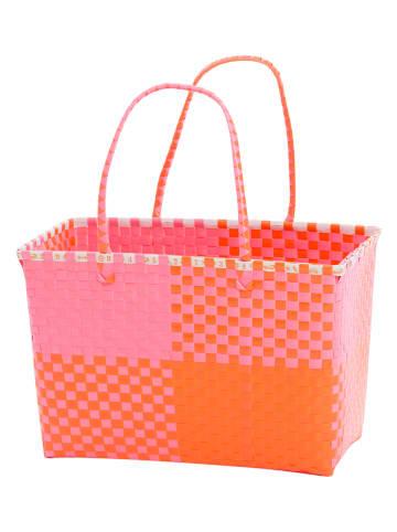 "Overbeck and Friends Shopper ""Ines"" in Orange/ Pink - (B)43 x (H)28 x (T)23 cm"