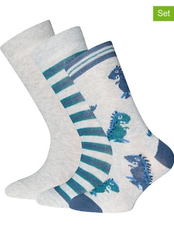 """Ewers 3-delige set: sokken """"Dino's"""" grijs/blauw"""
